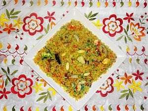 Zarda (food) - A plate of coloured zarda, flavoured with various ingredients