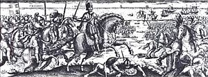 """Battle of Pont du Feneau - """"Combat et victoire obtenue sur les Anglois"""" (combat and victory obtained on the English) by Michel de la Mathoniere, 1627"""