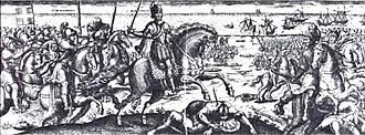 Henri de Schomberg - Marshall Henri de Schomberg and Toiras vanquishing the English army of Buckingham at the end of the siege. Michel de la Mathonière, 1627.