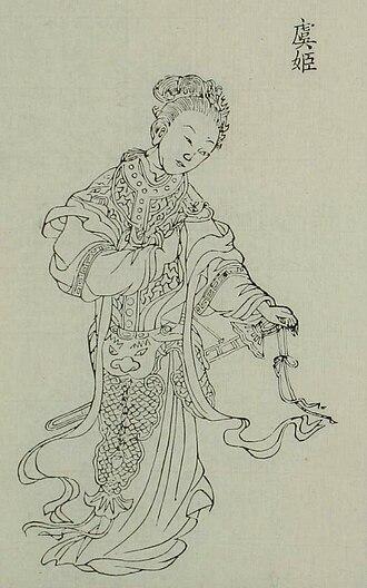 Consort Yu - A portrait of Consort Yu from Baimei Xinyong Tuzhuan (百美新詠圖傳) by Yan Xiyuan
