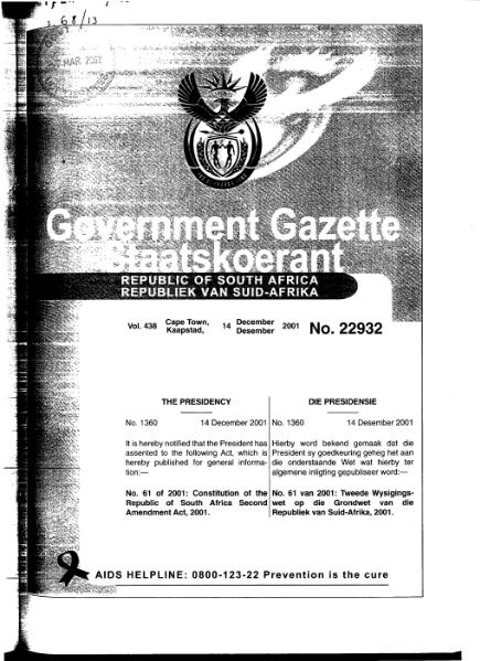 File:Constitution of the Republic of South Africa Second Amendment Act 2001 from Government Gazette.djvu