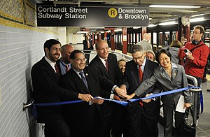 Cortlandt Street (BMT Broadway Line) - Ribbon cutting for the reopening of the southbound platform.