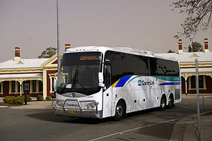 CountryLink - Makeham's Coaches BCI 6125 (ISM) coach departing Wagga Wagga station in April 2009