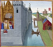 Coronation of Louis VI.  in Orléans, in front of the city his opponent Heinrich Beauclerc, who receives the rebel barons (picture by Jean Fouquet)