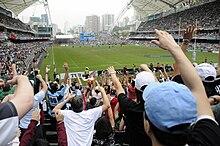 Acclamations des fans de rugby, vus des tribunes