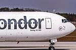 D-ABUA Condor Boeing 767-330(ER)(WL) coming in from Cancun MMUN on Rwy25R @ Frankfurt - Rhein-Main International (FRA - EDDF) - 08.04.2015 (17185525435).jpg