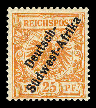 Postage stamps and postal history of German South West Africa - Overprint with hyphen, 1897.