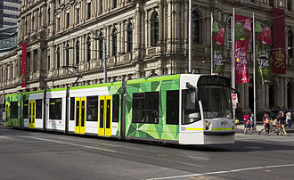 D-class Melbourne tram - Image: D2 5001 (Melbourne tram) in Elizabeth St on route 19 to City in PTV livery, December 2013