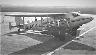 De Havilland Express - DH.86B G-ADVJ of charter airline Bond Air Services at Liverpool (Speke) Airport in March 1950