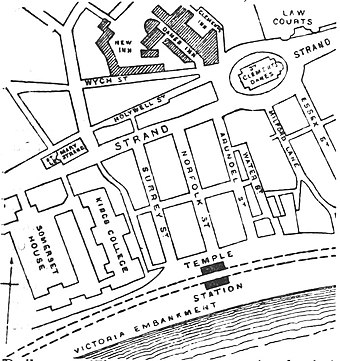 1888 plan showing Aldwych before the construction of the modern street.  The eastern part of the new street cut a swathe through just to the north of Wych Street.