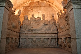 National Museum of Damascus - This 3d Century tomb, found in Palmyra is one of the best examples of Palmyrene funerary art