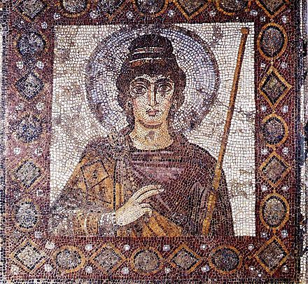 The Lady of Carthage mosaic, one of the major surviving pieces of Byzantine art in modern Tunisia Dame Carthage(MNC).jpg