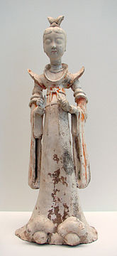 Tomb figure of a lady attendant, 7th- to 8th-century; during the Tang era, female hosts prepared feasts, tea parties, and played drinking games with their guests. Dame Chine Guimet 291003.jpg