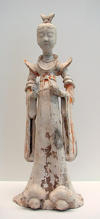 History of Chinese cuisine - A terracotta sculpture of a woman, 7th–8th century; during the Tang era, female hosts prepared feasts, tea parties, and played drinking games with their guests.