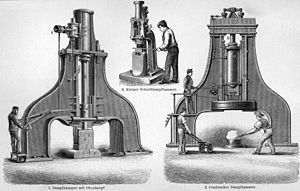 Steam hammer - 1894 illustration of various sizes of single- and double-frame steam hammer