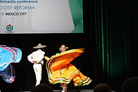 Dancing at the Wikimania 2015 Opening Ceremony IMG 7619.JPG