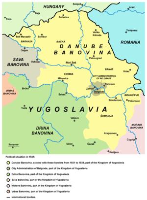 Podunavlje - Danube Banovina map