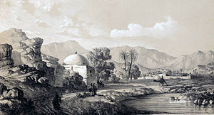 Darab - Drawing of Darab during the Qajar period by Eugène Flandin