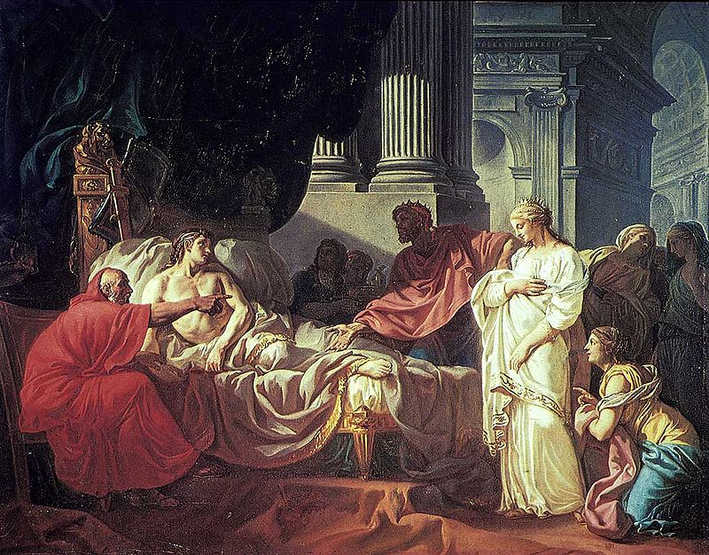 À gauche un homme dans un lit, à ses côté un vieillard montre du doigt en face, une femme debout