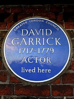 David garrick 1717 1779 actor lived here