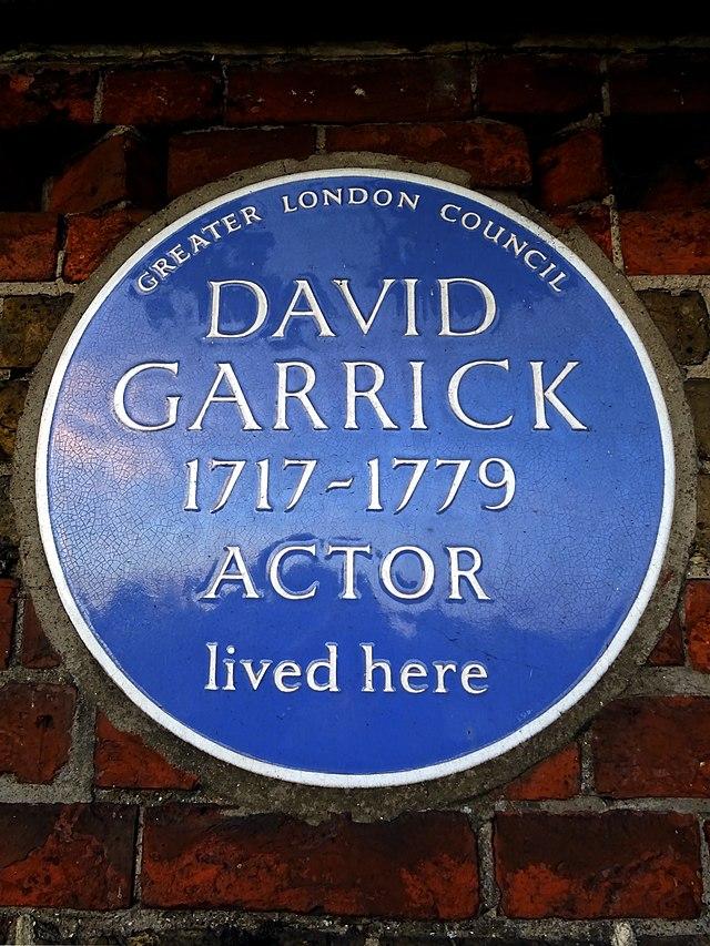David Garrick blue plaque - David Garrick 1717-1779 actor lived here