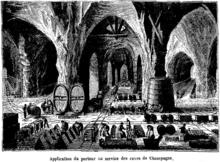 Gravure d'une cave de champagne dans laquelle est installée une mini voie ferrée.