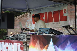 Decibel Festival - Unidentified deejay at a free show at Seattle's Volunteer Park during Decibel Fest 2011