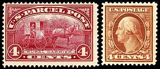 U.S. Parcel Post stamps of 1912–13 - Size comparison of Parcel Post stamp with a definitive stamp