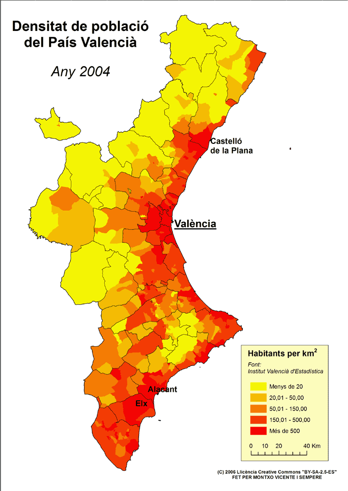 Densitat de poblaci%C3%B3 del Pa%C3%ADs Valencia (2004)