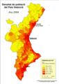 Densitat de població del País Valencia (2004).png