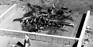 Destroyed C-130 Hercules in revetment Vietnam