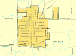 Detailed map of Lindsborg, Kansas