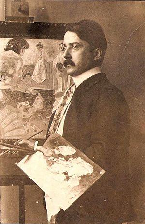 Hanns Diehl - Hanns Diehl at his easel, ca. 1910