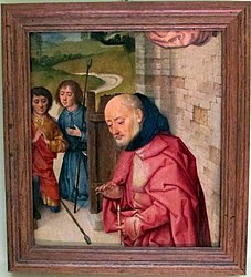 Dieric Bouts: Nativity fragment with Joseph and Two Shepherds
