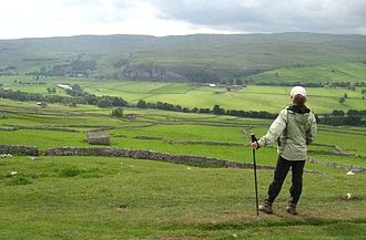 Kilnsey - Image: Distant view of Kilnsey from Dalesway, NE