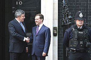 2009 G20 London summit - Gordon Brown and Dmitry Medvedev at the front door of the Prime Minister' residence on Downing Street.