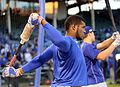 Dodgers outfielder Yasiel Puig looks on during batting practice before NLCS Game 6. (30388284152).jpg