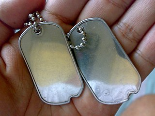 Dog tag identification tag worn by military personnel