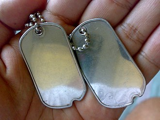 Dog tag - A pair of blank dog tags on a ball chain