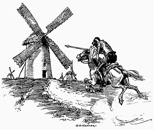 Don Quixote fighting windmills