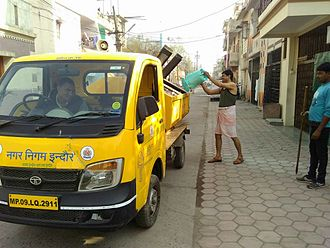 Swachh Bharat Abhiyan - A door-to-door garbage collection van in the city of Indore