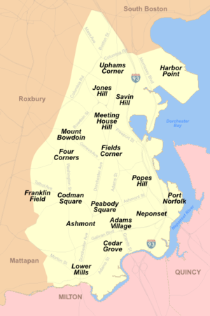 Map Showing The Locations Of Dorchester Neighborhoods Including Savin Hill