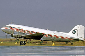 East-West Airlines (Australia) - East-West Airlines Douglas DC-3 at Sydney's Mascot Airport in 1970.