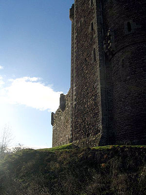 The east wall of Doune Castle, where the openi...