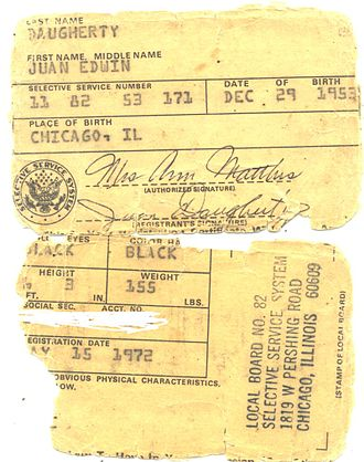 Draft-card burning - A Vietnam-era draft card worn out from years in a wallet