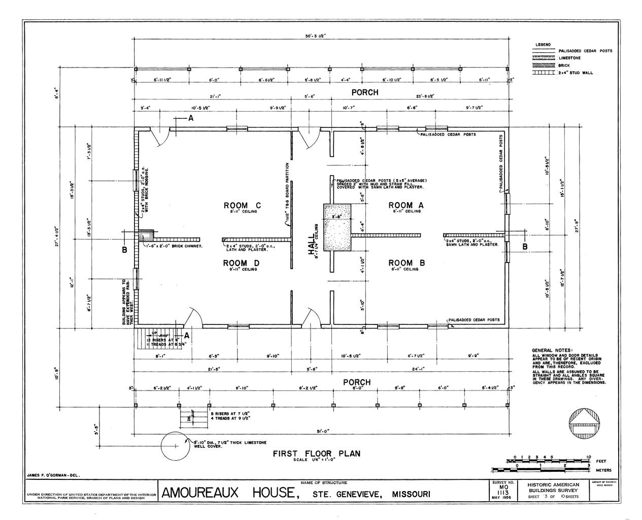 File drawing of the first floor plan amoureaux house in for Blueprint of a house with measurements