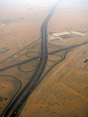 E 611 road (United Arab Emirates) - Aerial view of E611.