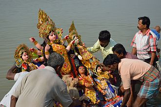 Vijayadashami - Durga image is immersed into river on Vijayadashami in eastern regions of the Indian subcontinent.