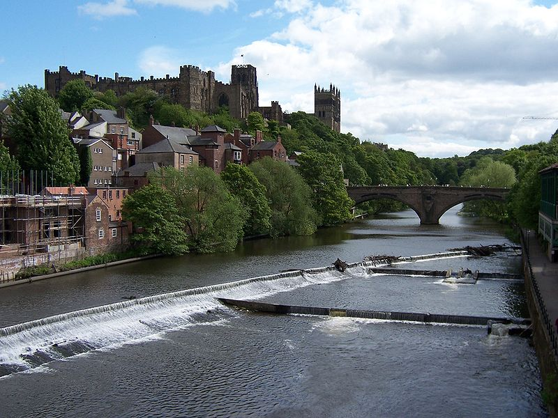 View of Framwellgate Bridge, Durham Cathedral and Durham Castle taken from Millburngate Bridge on the River Wear (Durham, England). own work; photo taken on 28 May 2006