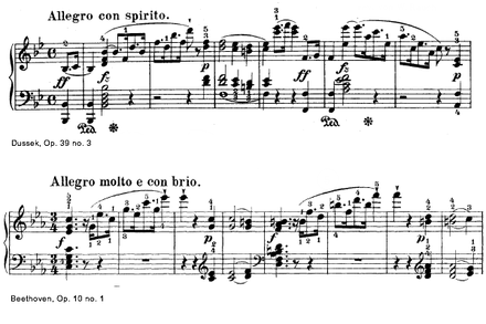 The opening of Dussek's Sonata Opus 39/3 Play  (help*info) and Beethoven's Opus 10/1 Play  (help*info) . Dussek Op 39-3 & Beethoven Op. 10-1 openings.png